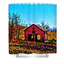 Red Barn On A Hillside Shower Curtain by Bill Cannon