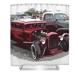 Red Model A Coupe Shower Curtain by Steve McKinzie