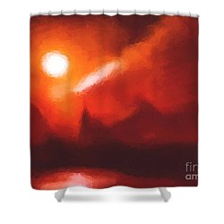 Red Mountains Shower Curtain by Pixel Chimp