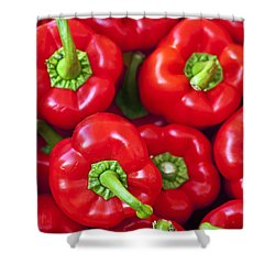 Red Peppers Shower Curtain by Joana Kruse