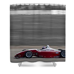 Red Racer Shower Curtain by Darcy Michaelchuk