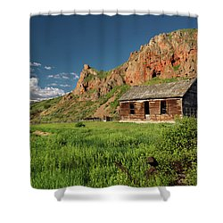 Red Rock Cabin Shower Curtain by Leland D Howard