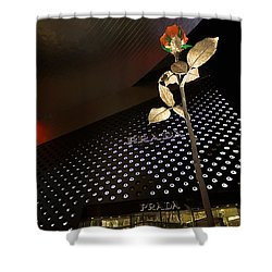 Red Rose Prada Shower Curtain by Nicholas  Grunas