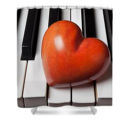 Red Stone Heart On Piano Keys Shower Curtain by Garry Gay