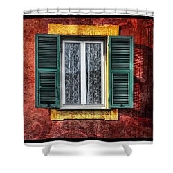 Red Wall Shower Curtain by Mauro Celotti