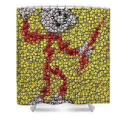 Reddy Kilowatt Bottle Cap Mosaic Shower Curtain by Paul Van Scott