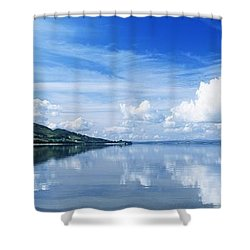 Reflection Of Clouds In Water, Lough Shower Curtain by The Irish Image Collection