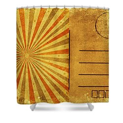 Retro Grunge Ray Postcard Shower Curtain by Setsiri Silapasuwanchai