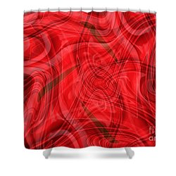 Ribbons Of Red Abstract Shower Curtain by Carol Groenen