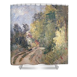 Road Turning Under Trees Shower Curtain by Paul Cezanne