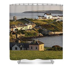 Roches Point Lighthouse In Cork Harbour Shower Curtain by Trish Punch