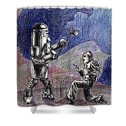 Rocket Man And Robot Shower Curtain by Mel Thompson