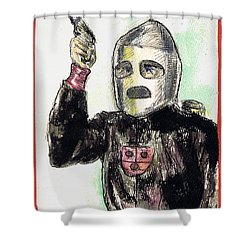 Rocket Man Shower Curtain by Mel Thompson