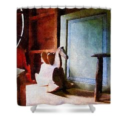 Rocking Horse In Attic Shower Curtain by Susan Savad