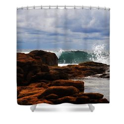 Rocks And Surf Shower Curtain by Phill Petrovic