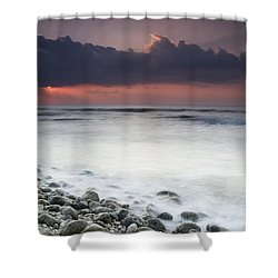 Rocky Beach At Sunrise Hawf Protected Shower Curtain by Sebastian Kennerknecht