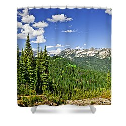 Rocky Mountain View From Mount Revelstoke Shower Curtain by Elena Elisseeva
