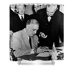 Roosevelt Signing Declaration Of War Shower Curtain by Photo Researchers