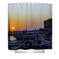 Rovinj Sunset Shower Curtain by Madeline Ellis