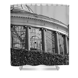 Royal Conservatory In Brussels - Black And White Shower Curtain by Carol Groenen