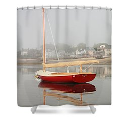 Ruby Red Catboat Shower Curtain by Roupen  Baker