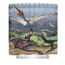 Rugops Primus Dinosaurs And Alanqa Shower Curtain by Sergey Krasovskiy
