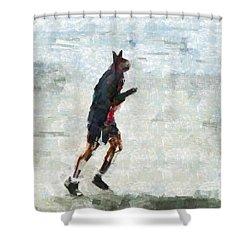Run Rabbit Run Shower Curtain by Steve Taylor