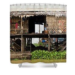 Rural Fishermen Houses In Cambodia Shower Curtain by Artur Bogacki