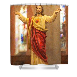 Sacred Heart Of Jesus Shower Curtain by Clarence Holmes