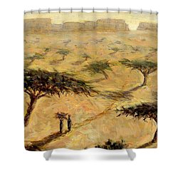 Sahelian Landscape Shower Curtain by Tilly Willis