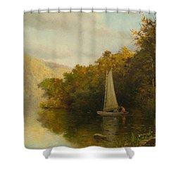 Sailboat On River Shower Curtain by Arthur Quarterly