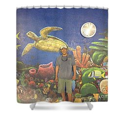 Sailfish Splash Park Mural 7 Shower Curtain by Carey Chen