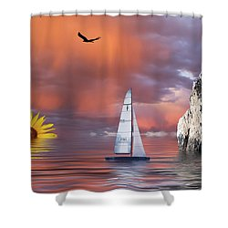Sailing At Sunset Shower Curtain by Shane Bechler