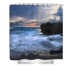 Sailing On The Silk Blue Sea Shower Curtain by Debra and Dave Vanderlaan