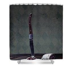 Salami Shower Curtain by Joana Kruse