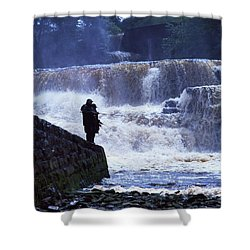 Salmon Fishing, Ballisodare River, Co Shower Curtain by The Irish Image Collection