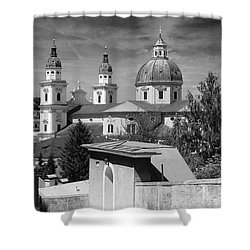 Salzburg Black And White Austria Europe Shower Curtain by Sabine Jacobs