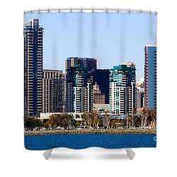 San Diego California Skyline Shower Curtain by Paul Velgos