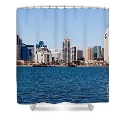 San Diego Skyline Buildings Shower Curtain by Paul Velgos