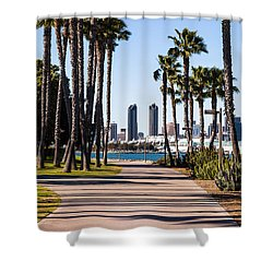 San Diego Skyline With Coronado Island Bayshore Bikeway Shower Curtain by Paul Velgos