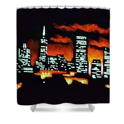 San Francisco Black Light Shower Curtain by Thomas Kolendra