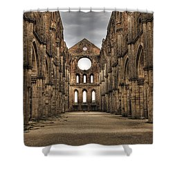 San Galgano  - A Ruin Of An Old Monastery With No Roof Shower Curtain by Joana Kruse
