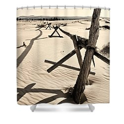 Sand And Fences Shower Curtain by Heather Applegate