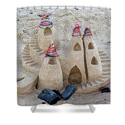 Sand Castle Shower Curtain by Karen Elzinga