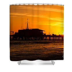 Santa Monica Pier Sunset Shower Curtain by Paul Velgos