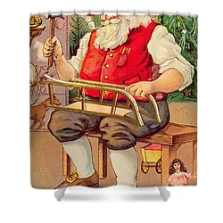 Santa's Workshop Shower Curtain by English School