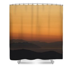 Santo Stefano Coastline At Sunset Shower Curtain by Axiom Photographic