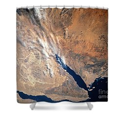 Satellite Image Of Land Shower Curtain by Stocktrek Images