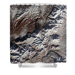 Satellite Image Of Russias Kizimen Shower Curtain by Stocktrek Images