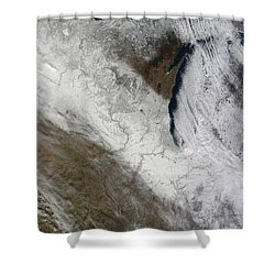 Satellite View Of Snow And Cold Shower Curtain by Stocktrek Images